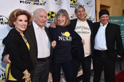 """Actors Kat Kramer, Ed Asner, Mimi Kennedy, anti nuclear strategist Harvey Wasserman and David Valentino attend the Atomic Age Cinema Fest Premiere of """"The Man Who Saved The World"""" at Raleigh Studios on April 27, 2016 in Los Angeles, California."""