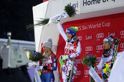 Petra Vlhova of Slovakia takes 1st place, Wendy Holdener of Switzerland takes 2nd place, Mikaela Shiffrin of USA takes 3rd place during the Audi FIS Alpine Ski World Cup Women's Slalom on November 11, 2017 in Levi, Finland.