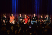 (L-R) Actors Julia Roberts, Julianne Nicholson, Dermot Mulroney, Juliette Lewis, Chris Cooper, Margo Martindale and George Clooney onstage during the 'August: Osage County' screening presented by The Weinstein Company at Westwood Village Theatre on November 11, 2013 in Los Angeles, California.