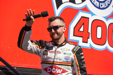 Austin Dillon Celebrities At The Monster Energy NASCAR Cup Series Race At Auto Club Speedway