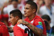 Peru player Paolo Guerrero (r) celebrates his goal with Christian Cueva during the 2018 FIFA World Cup Russia group C match between Australia and Peru at Fisht Stadium on June 26, 2018 in Sochi, Russia.