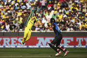 Steve Smith of Australia attempts to catch Grant Elliott of New Zealand during the 2015 ICC Cricket World Cup final match between Australia and New Zealand at Melbourne Cricket Ground on March 29, 2015 in Melbourne, Australia.