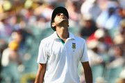 Imran Tahir of South Africa shows his frustration during day three of the Second Test Match between Australia and South Africa at Adelaide Oval on November 24, 2012 in Adelaide, Australia.