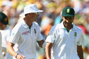 Dale Steyn and Imran Tahir of South Africa share a laugh during day three of the Second Test Match between Australia and South Africa at Adelaide Oval on November 24, 2012 in Adelaide, Australia.