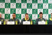 (L-R) Sam Groth, Nick Kyrgios, Lleyton Hewitt, Jordan Thompson and John Peers of Australia attend a press conference ahead of the Davis Cup World Group Quarterfinals tie between Australia and the United States at Pat Rafter Arena on April 4, 2017 in Brisbane, Australia.