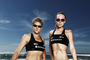 Image has been desaturated) Natalie Cook (L) and Tamsin Barnett (R) of Australia pose during an Australian Beach Volleyball portrait session at Manly Beach on April 2, 2012 in Manly, Australia.