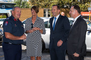 New Zealand Fire Service National Commander Paul Baxter (L) greets Margie Abbott, Australian Prime Minister Tony Abbott and New Zealand Prime Minister John Key as they arrive to meet Rural Fire Service Officers who have served in Australia, Central Fire Station on February 28, 2015 in Auckland, New Zealand. Prime Minister Abbott is on his first official two day visit to New Zealand.