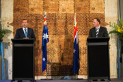 Australian Prime Minister Tony Abbott, left, and New Zealand Prime Minister John Key speak at a joint media conference at Government House on February 28, 2015 in Auckland, New Zealand. Prime Minister Abbott is on his first official two day visit to New Zealand.