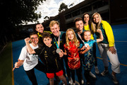 Australian Winter Olympic athlete Britt Cox,  David Morris,  Jarryd Hughes, Matt Graham, Jakara Anthony,  and Emily Arthur are seen with students, Dorian, Lily and Frieda at Fitzroy North Primary School on March 21, 2018 in Melbourne, Australia. Australia finished 23rd on the Winter Olympics medal tally, winning two silver medals and one bronze.
