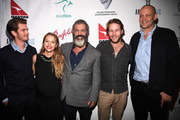 "(L-R) Andrew Garfield, Teresa Palmer, Mel Gibson, Luke Bracey  Vince Vaughn, attend Australians In Film Presents ""Hacksaw Ridge"" Screening and Q&A at Ahrya Fine Arts Movie Theater on October 21, 2016 in Beverly Hills, California."