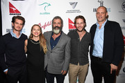 "(L-R) Andrew Garfield, Teresa Palmer, Mel Gibson, Luke Bracey  Vince Vaughn, attend Australians In Film Presents ""Hacksaw Ridge"" Screening and Q&Aat Ahrya Fine Arts Movie Theater on October 21, 2016 in Beverly Hills, California."