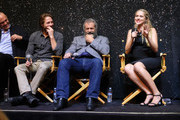 "(L-R) Vince Vaughn, Luke Bracey, director Mel Gibson, Teresa Palmer, attend Australians In Film Presents ""Hacksaw Ridge"" Screening and Q&A at Ahrya Fine Arts Movie Theater on October 21, 2016 in Beverly Hills, California."