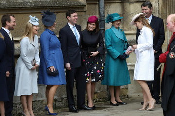 Autumn Phillips The Royal Family Attend Easter Service At St George's Chapel, Windsor