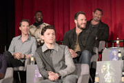 (L-R) Actors Benedict Cumberbatch, Winston Duke,Tom Holland, Chris Pratt, and Dave Bautista attend the Global Press Conference at the Avengers: Infinity War Press Junket in Los Angeles, CA April 22nd, 2018