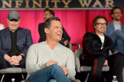 (L-R) President of Marvel Studios and Producer Kevin Feige, actors Mark Ruffalo, Josh Brolin, Robert Downey Jr., and Tom Hiddleston attend the Global Press Conference at the Avengers: Infinity War Press Junket in Los Angeles, CA April 22nd, 2018