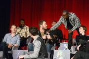 (Top L-R): Actors Winston Duke, Dave Bautista, and Don Cheadle, (Middle L-R): Actors Benedict Cumberbatch, Chris Pratt, and Scarlett Johansson attend the Global Press Conference at the Avengers: Infinity War Press Junket in Los Angeles, CA April 22nd, 2018
