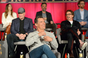 (L-R) Actor Elizabeth Olsen, President of Marvel Studios and Producer Kevin Feige, actors Josh Brolin, Mark Ruffalo, Robert Downey Jr., and Tom Hiddleston attend the Global Press Conference at the Avengers: Infinity War Press Junket in Los Angeles, CA April 22nd, 2018