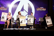 (L to R) Pom Klementieff, Tom Hiddleston, Benedict Cumberbatch and Tom Holland attend the press conference for 'Avengers Infinity War' Seoul premiere on April 12, 2018 in Seoul, South Korea.