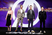 (L-R) Pom Klementieff, Tom Hiddleston, Benedict Cumberbatch and Tom Holland attend the press conference for 'Avengers: Infinity War' Seoul premiere on April 12, 2018 in Seoul, South Korea.