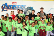 (L-R) Scarlett Johansson, Paul Rudd, Jeremy Renner and Chris Hemsworth and guests attend Avengers Universe Unites, a charity event to celebrate the donation of more than $5 million in cash and toys to nonprofits supporting children with critical illnesses, at Disney California Adventure Park on April 5, 2019 in Anaheim, California.