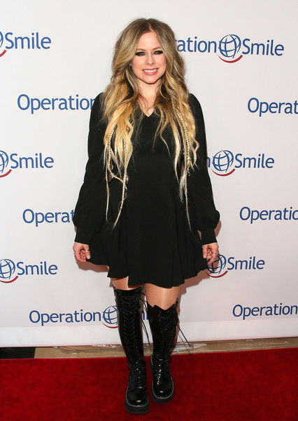 Operation Smile's Hollywood Fight Night Hosted By Brooke Burke And Manny Pacquiao [clothing,footwear,carpet,knee-high boot,joint,dress,fashion,knee,boot,outerwear,brooke burke,manny pacquiao,avril lavigne,california,los angeles,beverly hilton,operation smile,hollywood fight night]