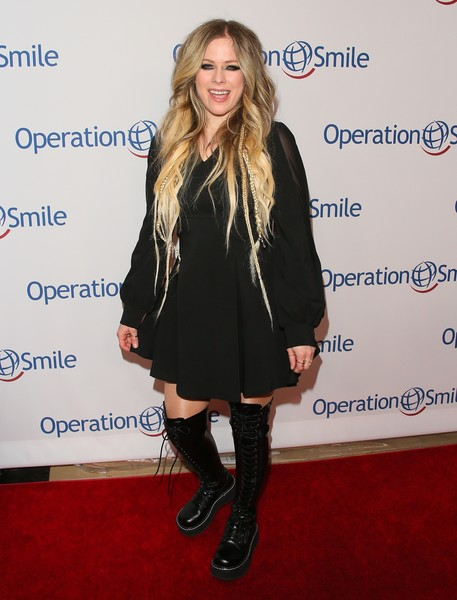 Operation Smile's Hollywood Fight Night Hosted By Brooke Burke And Manny Pacquiao [clothing,footwear,dress,knee-high boot,joint,fashion,carpet,outerwear,knee,leg,brooke burke,manny pacquiao,avril lavigne,california,los angeles,beverly hilton,operation smile,hollywood fight night]