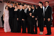 (L-R) Jury members Laetitia Casta, Ari Folman, Ursula Meier, jury president Michael Mann and jury members Pablo Trapero, Samantha Morton, Peter Ho-Sun Chan, Marina Abramovic and Matteo Garrone attend the Award Ceremony during the 69th Venice Film Festival at the Palazzo del Cinema on September 8, 2012 in Venice, Italy.