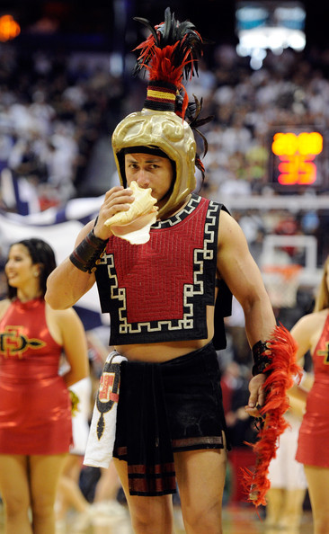 San Diego State Mascot http://www.zimbio.com/pictures/jpz5gIaHFFA/Mountain+West+Basketball+Tournament+Championship/ata2Q_yt6Np/Aztec+Warrior