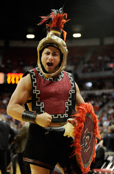 San Diego State Mascot http://www.zimbio.com/pictures/t-klpa2LdTp/Mountain+West+Basketball+Tournament+Quarterfinals/iUxmNIQVOBq/Aztec+Warrior