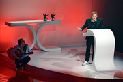 Matthias Schweighoefer (R) thanks the audience and his friend and laudator Milan Peschel (L) for receiving the B.Z. Kulturpreis on January 18, 2013 in Berlin, Germany.