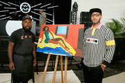 Artist Derrick Adams and Swizz Beatz attend No Commission: Miami presented by BACARDÃ? x The Dean Collection on December 7, 201 at Faena Forum on December 7, 2018 in Miami Beach, Florida.