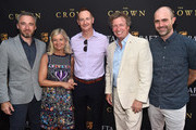 British Consul General to Los Angeles, Micheal Howells, BAFTALA CEO, Chantal Rickards, BAFTALA Board Chairman Kieran Breen, TV personality Nigel Lithgoe and BAFTALA COO, Matthew Wiseman attend the BAFTALA Summer Garden Party at The British Residence on August 19, 2018 in Los Angeles, California.