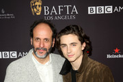 Luca Guadagnino (L) and Timothee Chalamet attend The BAFTA Los Angeles Tea Party at Four Seasons Hotel Los Angeles at Beverly Hills on January 6, 2018 in Los Angeles, California.