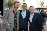 (L-R) Chris O'Dowd, President and CEO, AMC Networks Josh Sapan and Ted Sarandos attend the BAFTA TV Tea Party on September 21, 2019 in Los Angeles, California.