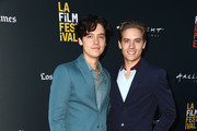 "Actors Cole Sprouse (L) and Dylan Sprouse attend the ""BANANA SPLIT"" premiere at the Los Angeles Film Festival at ArcLight Culver City on September 22, 2018 in Culver City, California."