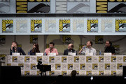 (L-R) Actors Matt Smith, Jenna-Louise Coleman, writer Steven Moffat, David Bradley, Mark Gatiss, and Marcus Wilson speak onstage at BBC America's 'Doctor Who' 50th Anniversary panel during Comic-Con International 2013 at San Diego Convention Center on July 21, 2013 in San Diego, California.