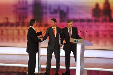 Gordon Brown Nick Clegg The BBC Host The Third And Final Televised Leaders' Debate
