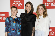 "Gemma Whelan, Suranne Jones and Sophie Rundle attend the BBC One's ""Gentleman Jack"" photocall at Ham Yard Hotel on May 07, 2019 in London, England."