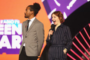 Dev Griffin (L) and Alice Levine speak on stage during the BBC Radio 1 Teen Awards 2017 at Wembley Arena on October 22, 2017 in London, England.