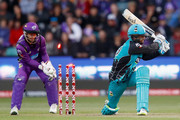 Alex Ross of the Brisbane Heat is bowled by Cameron Boyce of the Hobart Hurricanes during the Big Bash League match between the Hobart Hurricanes and the Brisbane Heat at Blundstone Arena on January 15, 2018 in Hobart, Australia.