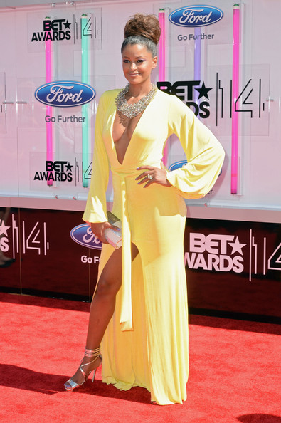 TV personality Claudia Jordan attends the BET AWARDS '14 at Nokia Theatre L.A. LIVE on June 29, 2014 in Los Angeles, California.
