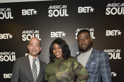 Scott Mills, Kelly Price, and Sinqua Walls attends the BET American Soul NYC Screening Event on January 28, 2019 in New York City.