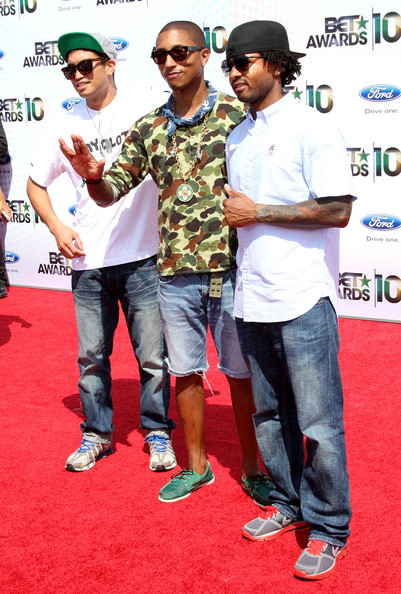 Chad Hugo, Pharrell Williams and Shay Haley of N.E.R.D. arrive at the 2010 BET Awards held at the Shrine Auditorium on June 27, 2010 in Los Angeles, California.