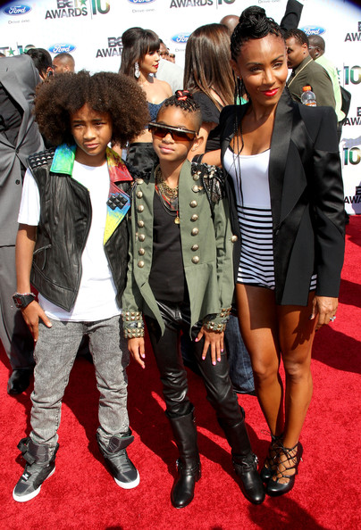 Actors Jaden Smith, Willow Smith and Jada Pinkett Smith arrives at the 2010 BET Awards held at the Shrine Auditorium on June 27, 2010 in Los Angeles, California.