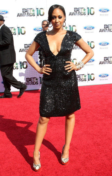 Actress Tia Mowry arrives at the 2010 BET Awards held at the Shrine Auditorium on June 27, 2010 in Los Angeles, California.