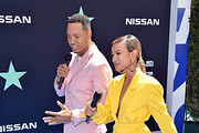 (L-R) Terrence J and Karrueche Tran attend the 2019 BET Awards at Microsoft Theater on June 23, 2019 in Los Angeles, California.