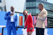 (L-R) Jackie Long, Meagan Good and DeVon Franklin speak onstage during the Pre Show at the 2019 BET Awards at Microsoft Theater on June 23, 2019 in Los Angeles, California.