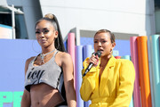 Saweetie (L) and Karrueche Tran speak onstage during the Pre Show at the 2019 BET Awards at Microsoft Theater on June 23, 2019 in Los Angeles, California.