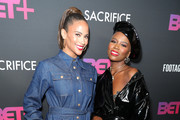 """Paula Patton and V. Bozeman attend BET+ and Footage Film's """"Sacrifice"""" premiere event at Landmark Theatre on December 11, 2019 in Los Angeles, California."""