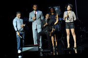 (L-R) Rapper Nelly, actor Boris Kodjoe, actor Kevin Hart, model Selita Ebanks and actress Cynthia Kaye McWilliams speak onstage at the BET Networks 2013 New York Upfront on April 16, 2013 in New York City.